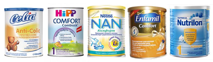 Кишечные колики Смеси для комфортного пищеварения