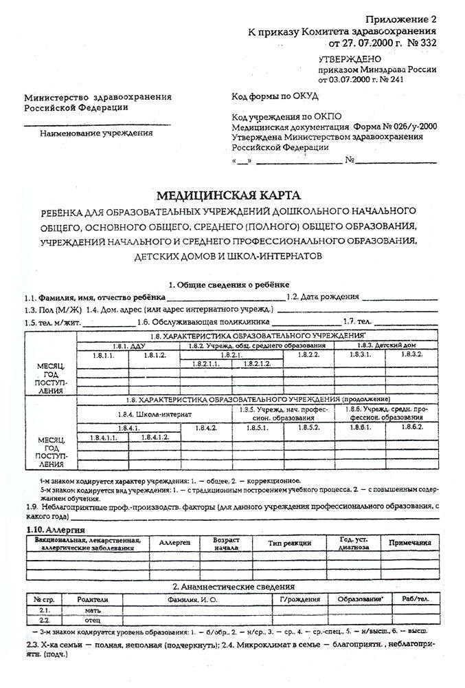 Медицинская карта для детского сада и школы форма 026у