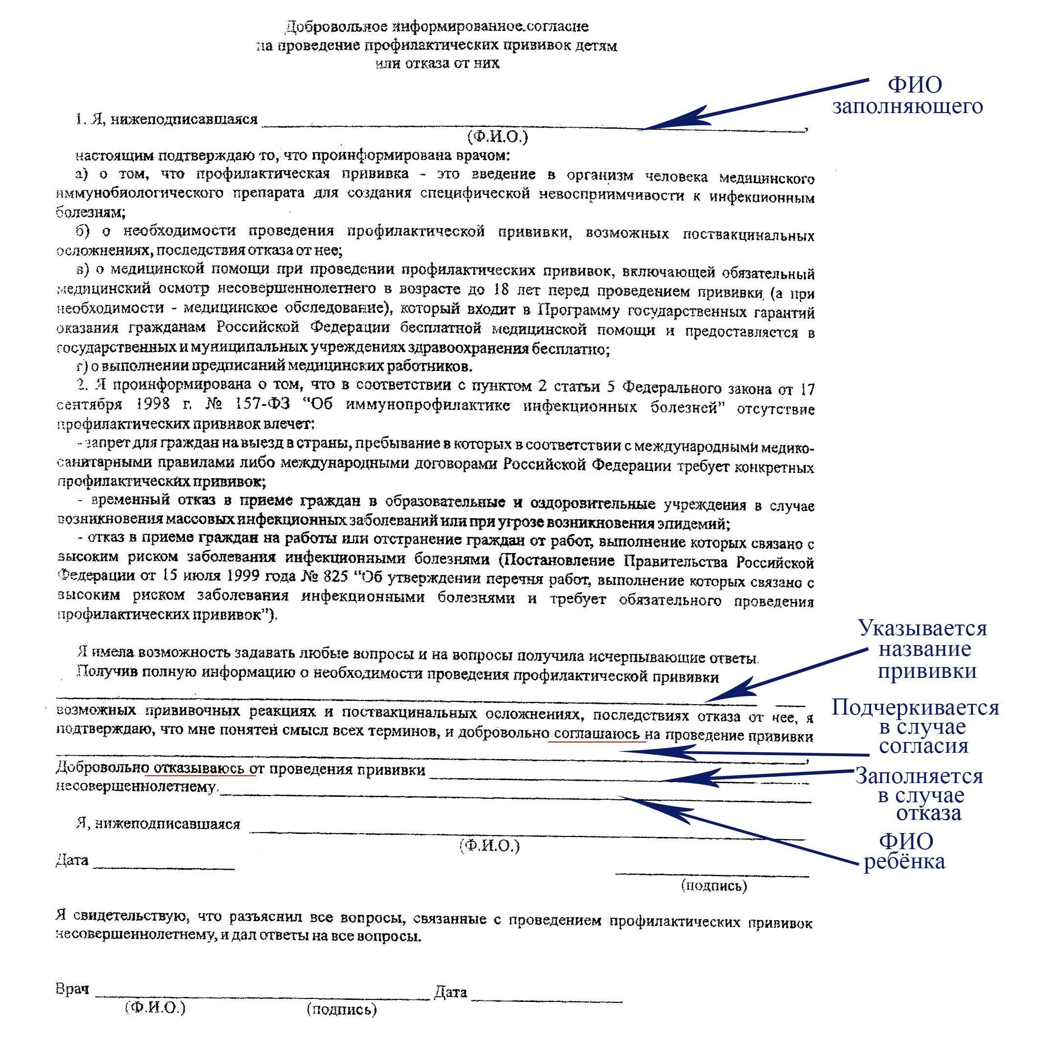 согласие отказ от прививки